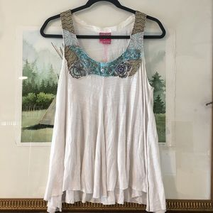 Free People Sequin Beaded Floral Tank Shirt Blouse